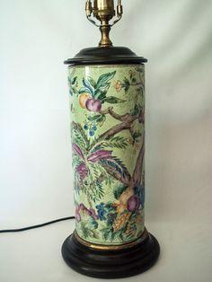 SALE Vtg WILDWOOD PORCELAIN Table Lamp Handpainted Birds & Fruit Chinoiserie