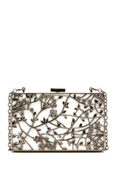 Metal Floral Scroll with Lucite Backing Clutch