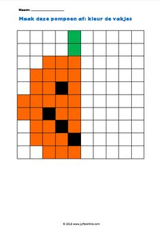 Halloween Arts And Crafts, Theme Halloween, Cute Halloween, Fall Crafts For Toddlers, Preschool Art Projects, Math Patterns, Graph Paper Art, Art Worksheets, Coding For Kids