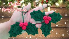 How to Crochet Holly and Berries a Christmas Ornament - YouTube Crochet Christmas Decorations, Christmas Baubles, Xmas Decorations, Christmas Stockings, Christmas Crafts, Christmas Ideas, Easy Crochet, Knit Crochet, Tutorial Crochet