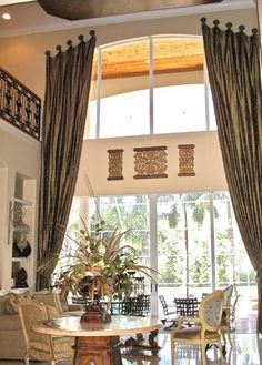WINDOW TREATMENTS - Cathedral Ceilings / High Windows (Double width silk panels pulled back with tassesl and hanging from medallions. Curtains Living Room, Custom Drapery, Arched Windows, Window Design, Great Rooms, Living Room Windows, Arched Window Treatments, Window Styles, Custom Window Treatments