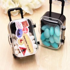 Mini Rolling Travel Suitcase Favor - 6 pcs x25= 150, $275 Custom M&M 2 lb $60, plain single color 2 7oz bags $14