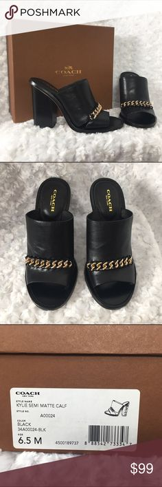"🌞 NIB Coach Kylie Mules NIB Coach Kylie semi matte leather chair wedge sandals.  Leather upper gold chain detailing.  3"" platform.  Gorgeous sandal!  Perfect condition, never worn.  Perfect for Spring Break or your next vacation.  🌴👓👙 Coach Shoes Mules & Clogs"