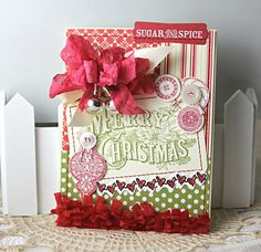 Shabby Chic Christmas Sugar and Spice Red Ornament handmade card