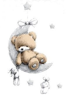 good night friends big kisses to see you tomorrow Baby Prints, Nursery Prints, Nursery Wall Art, Tatty Teddy, Bear Pictures, Cute Pictures, Cute Drawings, Animal Drawings, Scrapbooking Image