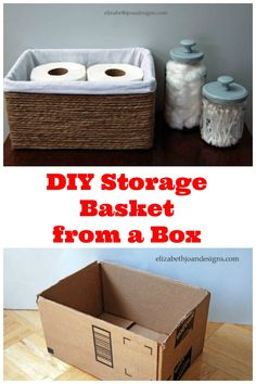Make rope-look storage boxes by hot glueing string, twine or rope around boxes