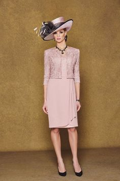 New Pink Mother Of The Bride/Groom Outfits Free Jacket Knee Length Formal Dress