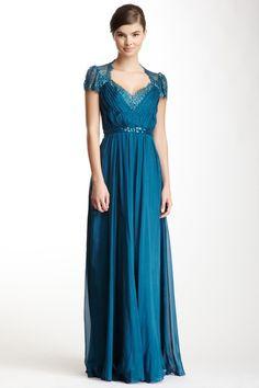 A.B.S by Allen Schwartz Long Silk Lace Cap Sleeve Dress by A.B.S By Allen Schwartz on @HauteLook