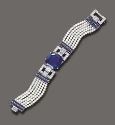 Art Deco Cartier diamond, sapphire, and pearl bracelet ca. 1925.