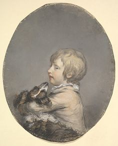Hugh Douglas Hamilton (Irish, 1739–1808). Portrait of William Evelyn of St Clere, Kent, Holding a Spaniel, ca. 1768–89. The Metropolitan Museum of Art, New York. Purchase, Brooke Russell Astor Bequest, 2013 (2013.97) #dogs