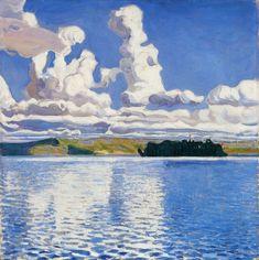 'Pilvi Tornit' (Cloud Towers) painting by Akseli Gallen-Kallela, produced in Creative Landscape, Landscape Art, Landscape Paintings, Nordic Art, Natural World, Oeuvre D'art, Fine Art Prints, Tower, Artwork