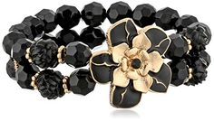 1928 Jewelry Le Marais GoldTone Black Flower 2Row Beaded Stretch Bracelet * Find out more about the great product at the image link.