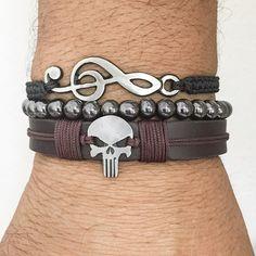 Kit 3 pulseiras masculinas Couro Caveira