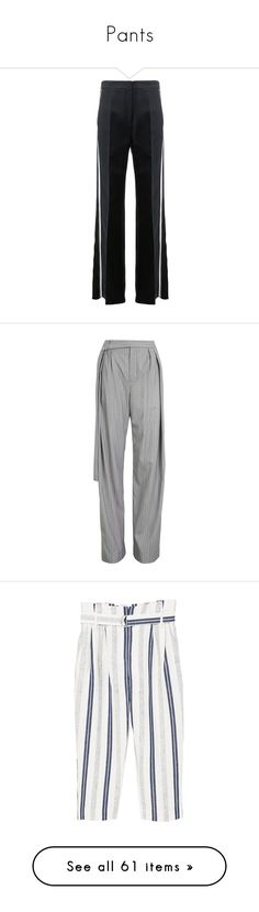 """""""Pants"""" by happilyjynxed ❤ liked on Polyvore featuring pants, bottoms, black, print pants, striped trousers, patterned pants, flare print pants, stripe pants, grey and pleated pants"""