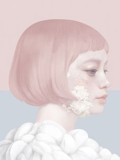 """I really like drawing girls and flowers. Drawing both things together makes me very happy. I often imagine our emotions as plants: they extend like any organic object; they grow and wither. Covering the face with flowers is a way to express the emotion, we can feel it even if we can't see the facial expression.""  — Hsiao-Ron Cheng #cosmicorgasm"