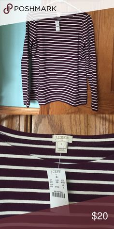 NWT  J.Crew Burgundy Boat Neck Long Sleeve Brand new burgundy long sleeve shirt from J.Crew. In perfect condition! Wonderful white stripes bring balance to this shirt! Cute paired with a puffer vest all fall long:) J. Crew Tops Tees - Long Sleeve