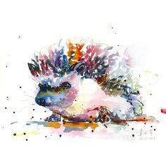 Print  the happy hedgehog  watercolor by TheLittleFloret on Etsy, $22.00