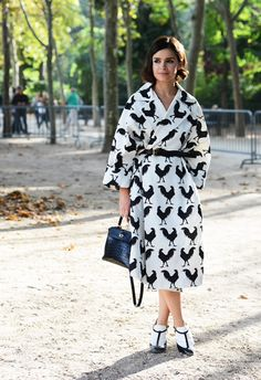 Miroslava Duma in Monochrome Cock print coat & Valentino shoes week street style Miroslava Duma, Fashion Photo, Fashion Beauty, Paris Fashion, Street Fashion, Spring Fashion, Street Style Chic, Mira Duma, Tommy Ton