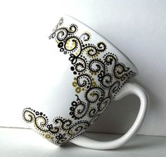 Gold with Black Paisley Hand Painted Mug - Single Large Coffee Cup