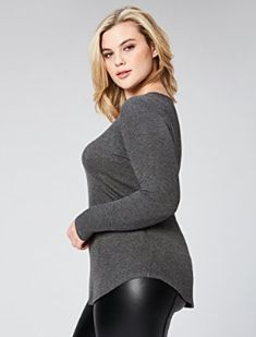 2593d132aae860 Daily Ritual Women s Plus Size Ribbed Long-Sleeve Scoop Neck Shirt