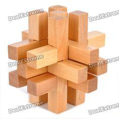 Wooden 14-Piece Lock Puzzle Brain Teaser IQ Toy