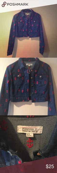 Forever 21 cropped denim ANCHOR jacket! SUMMER⚓️ Super amazing RARE jacket from forever 21. Solid denim, embroidered with red anchors. Size s. Worn once or twice, statement piece! Perfect for anytime of the year, super versatile! Crop fit is wonderful! Don't miss out :) Forever 21 Jackets & Coats Jean Jackets