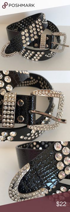 """Rhinestone Black Belt Rhinestone Black Belt. Simulated reptile pattern, shiny black  leather.  40"""" long. 1.5"""" wide. Accessories Belts"""