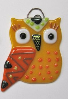 Happy Yellow Fused Glass Owl Suncatcher Ornament by NibNab on Etsy, $19.00