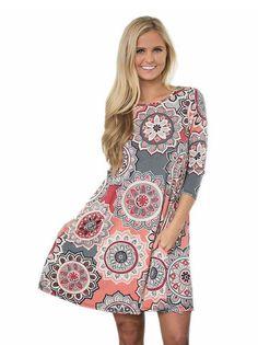 a18cbbaed31cfb New Slim Autumn 3 4 Sleeve Ethnic Style Floral Print Dress Boho Party Women Casual  Mini Vestidos Vintage Vestido De Festa