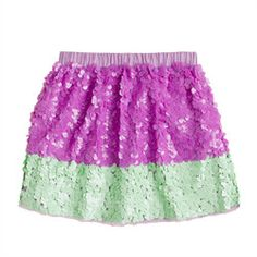 Girls' colorblock paillette skirt by J Crew