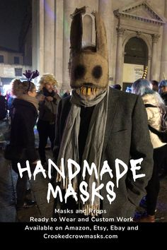 Handmade masks for Halloween costumes, masquerade balls, & cosplay. Creepy adult masks or child masks for pretend play, photo shoots and other fun times. #props #costume #halloween #mask  Ready to wear and Custom masks for Stage, Film, Masquerades and parties. Crookedcrowmasks.com - #crookedcrowmasks