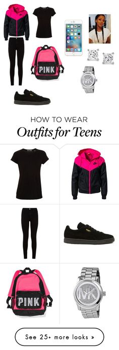 """""""teens only"""" by lordgirlky on Polyvore featuring NIKE, Puma, 7 For All Mankind, Vince, Michael Kors, women's clothing, women's fashion, women, female and woman"""