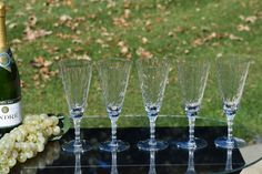 Vintage Etch Crystal Cut Cocktail Champagne by Antiquevintagefind