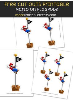 Free Mario on Flagpole Cut Out Printable with Dashed Lines - Super Mario Bros Super Mario Birthday, Mario Birthday Party, Super Mario Party, Super Mario Bros, 7th Birthday, Birthday Ideas, Hama Beads Minecraft, Perler Beads, Mario Kart