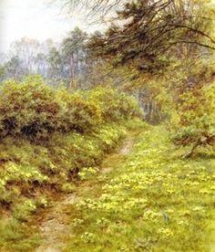 "Helen Allingham (British, 1848-1926)  ""The Primrose Path of Dalliance, Farringford"""