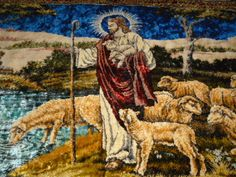 Vintage Religious Christian Christ Jesus Wall Tapestry Throw with Flock of Sheep