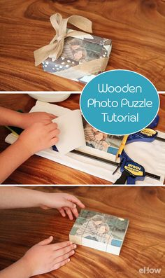 Made with wooden blocks, temporary tattoo paper, and a treasured photo, this easy-but-impressive craft is kid-friendly (with a little grown-up help) and highly giftable. Moms, dads, grandparents and friends would LOVE this as a gift! (PS: Kids can easily make this, too).  DIY here: http://www.ehow.com/how_2122505_make-wooden-puzzle.html?utm_source=pinterest.com&utm_medium=referral&utm_content=freestyle&utm_campaign=fanpage