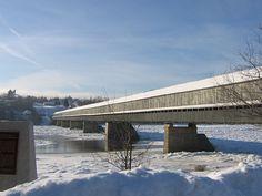 longest covered bridge in the world, Hartland, in winter