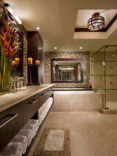 Sleek Master bathroom design - love the darker colors and look