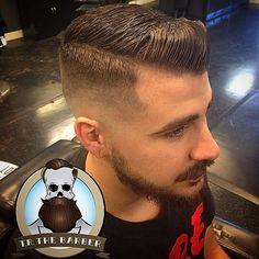 slick Nba Haircuts, Barber Haircuts, Haircuts For Men, Pompadour Cut, Side Part Haircut, Hair And Beard Styles, Hair Styles, Master Barber, Tapered Haircut