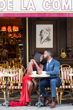 Paris Engagement Photos don't always require an Eiffel Tower, right? Hey, nothing says Paris quite the way a typical romantic Parisian cafe does. So make sure to budget a little time as part of your couple's Paris photoshoot