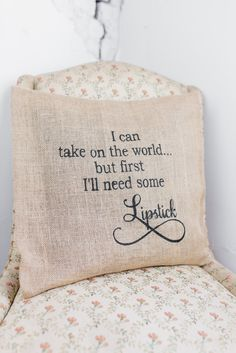 I'll Need Some Lipstick Burlap Pillow Cover