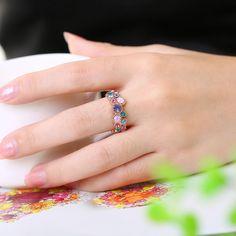 LuckyWeng Crystal Quartz Flower Ring for Women Rose Gold Cocktail Multi Gemstone Statement Rings Size 7 8 Crystal Rose, Quartz Crystal, Gold Plated Rings, Gold Rings, Delicate Rings, Rose Gold Plates, Statement Rings, Gemstones, Crystals