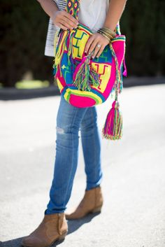 "Lindsay Luv wearing our ""Wayuu Warrior"" Mochila Bag by Mochila Bag Addixion"