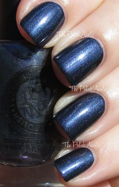 "I Love Nail Polish Absolute Zero, ""blackened blue with a subtle holo""."