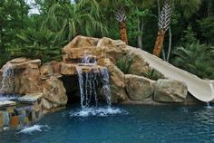 Swimming Pool Waterfalls by RicoRock®, Inc. - A new way to build custom swimming pool waterfalls. Swimming Pool Fountains, Swimming Pool Waterfall, Swimming Pools, Backyard Pool Landscaping, Backyard Ideas, Outdoor Spaces, Outdoor Living, My Ideal Home, Water Features