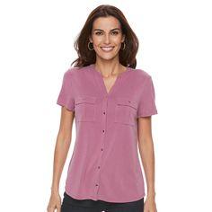 Petite Croft & Barrow® Button-Down Pocket Shirt, Women's, Size: Xl Petite, Med Purple