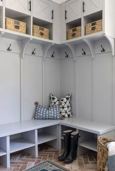 21 Mudroom Storage and Organization Ideas Mudroom Cubbies, Hallway Storage, Storage Spaces, Ikea Ivar Cabinet, Ceiling Shelves, Built In Desk, Interior Design Services, Lockers, Organization Ideas
