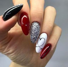 Red Black And White Nail Designs Ideas valentine nail style use of reds with a mix of black and Red Black And White Nail Designs. Here is Red Black And White Nail Designs Ideas for you. Red Black And White Nail Designs nail designs red and white . Classy Nail Designs, Short Nail Designs, Nail Art Designs, Nails Design, Red Nails, Hair And Nails, Glitter Nails, Nagel Tattoo, Nail Swag