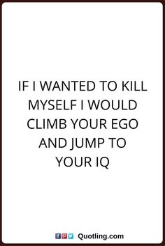 sarcastic quotes If I wanted to kill myself I would climb your ego and jump to your IQ. That is just saltyyy Sarcasm Quotes, Sassy Quotes, True Quotes, Funny Quotes, Hilarious Sayings, Hilarious Animals, 9gag Funny, It's Funny, Funny Signs